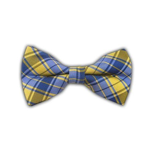 engagement picture idea blue and yellow bow tie for him with a white shirt and navy suspenders or tan belt.