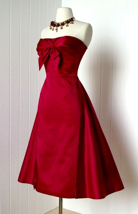 Red satin 1950s dress with bow at neckline - Not a thing to wear ...
