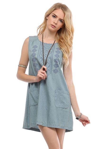Embroidered denim shift dress
