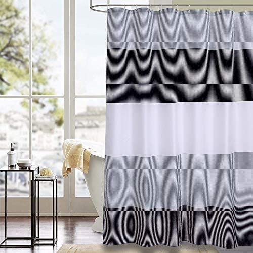 Julifo Shower Curtain Black And Grey Polyester Fabric Bathroom