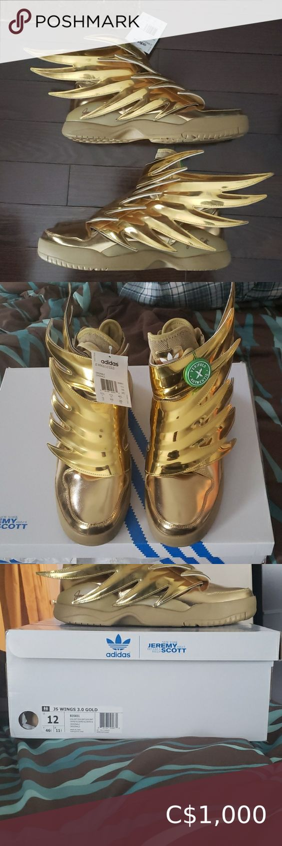 Jeremy Scott Adidas 3 0 Gold Size 12 Brand New Never Before Worn With Original Tags Undamage In 2020 Jeremy Scott Adidas Running Shoes For Men Adidas Basketball Shoes