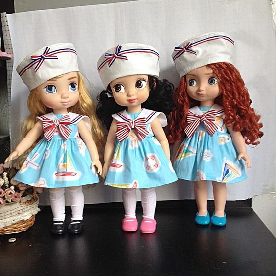 "Disney Animator's Collection 16"" 3Colours 3Pcs Sailor Uniform Baby Doll Clothes #Disney"