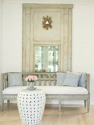 French ticking pillows: Side Table, Shannon Bowers, Garden Stools, Decorating Ideas, Livingroom, Living Room, Swedish Style, Gustavian Style