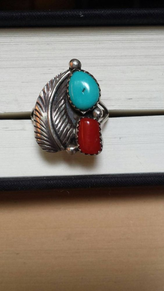Hey, I found this really awesome Etsy listing at https://www.etsy.com/listing/232773097/vintage-turquoise-coral-sterling-silver