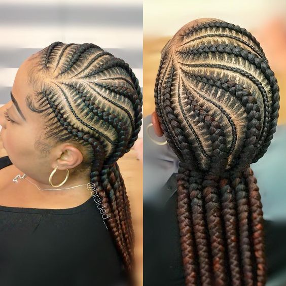 Braid Styles For Natural Hair Growth On All Hair Types For Black Women African Braids Hairstyles Hair Styles Feed In Braids Hairstyles