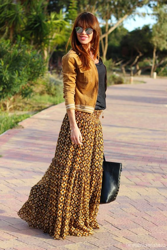 falda larga colores tierra hippie chic fashion