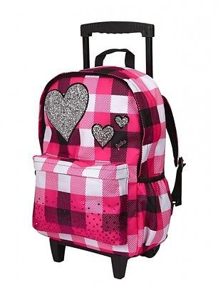 JUSTICE-for-GIRLS-ROLLER-BACKPACK-SUITCASE-LUGGAGE-SCHOOL-PINK ...