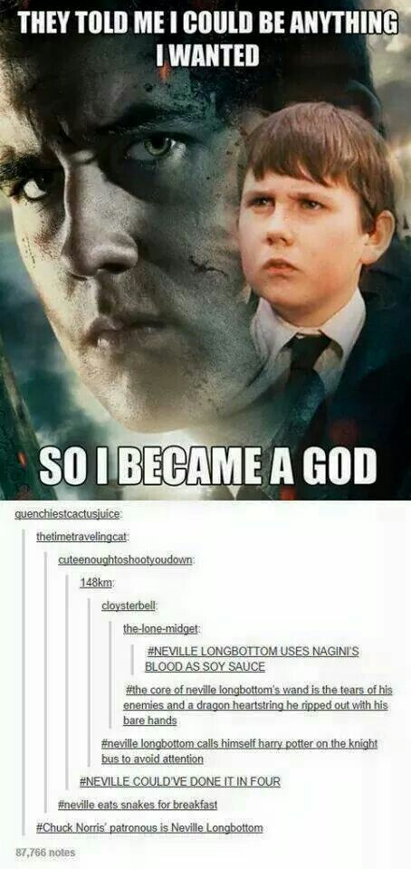 """Anyone who knows me knows that I love this. Neville was my absolute favorite character.>>>TEAM NEVILLE FOREVER! also """"chuck norris's patronus is neville longbottom"""""""