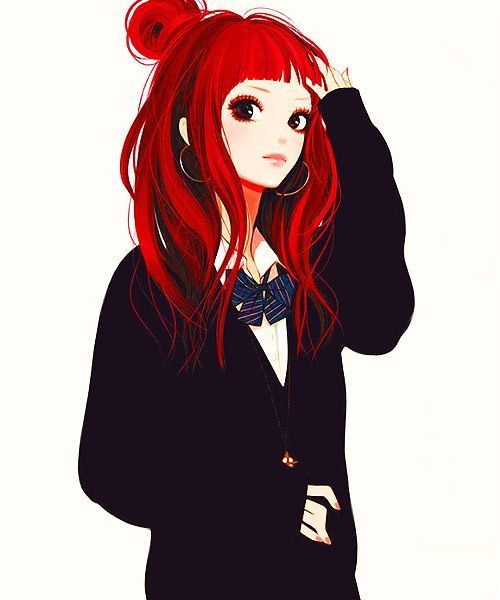 Anime Characters With Red Hair : Pretty anime girl with red hair girls ๑ ㅂ