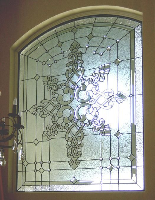 Large Custom Transom with Clear Bevel Clusters and Faceted Jewels