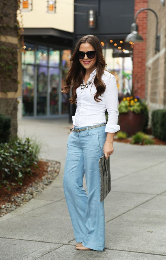 perfect spring outfit wideleg linen pants