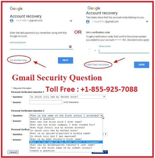 Gmail Account Recovery Using A Security Question Account