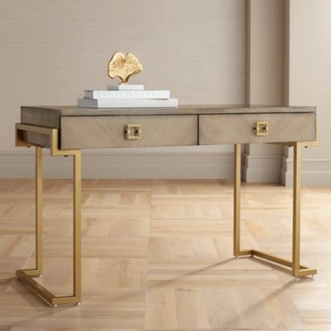 Wheaton 49 1 2 Wide Gold And Wood Glam Modern Writing Desk