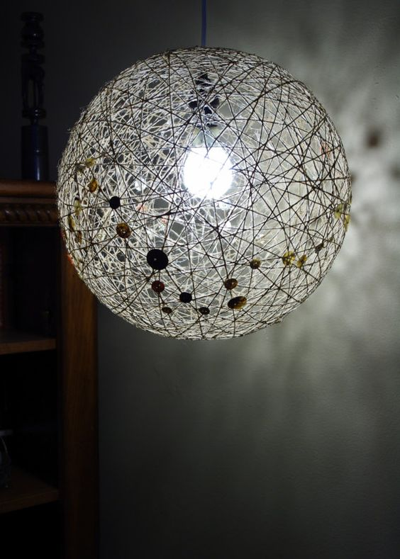 Hanging Lamp Sphere Made with Jute String And Buttons