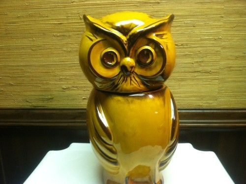 "Vintage ""Made in USA"" Ceramic Brown/Gold OWL Cookie Jar"