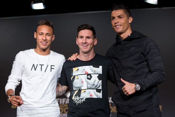 FIFA Ballon d'Or nominees Neymar Jr of Brazil and FC Barcelona (L), Lionel Messi of Argentina and FC Barcelona (C) and Cristiano Ronaldo of Portugal and Real Madrid (R) attend a press conference prior to the FIFA Ballon d'Or Gala 2015 at the Kongresshaus on January 11, 2016 in Zurich, Switzerland.