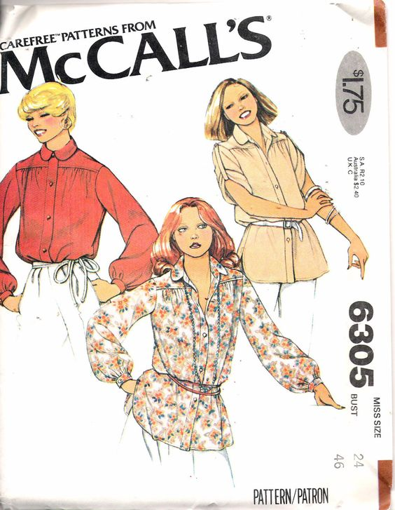 """Vintage 1978 McCall's 6305 Misses Blouse Sewing Pattern Size 24 Bust 42"""" UNCUT by Recycledelic1 on Etsy"""