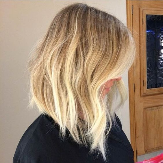 A-Line Blonde Sombre Long Bob (Lob)