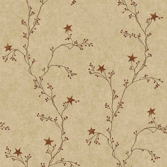 Primitive country wallpaper tan maroon ct1946cb star for Prepasted wallpaper
