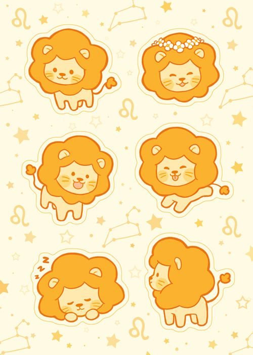 Since Leo Season Is Coming Up The Patreon Sticker Sheet For August Features Some Cute Little Lions Cute Cartoon Drawings Cute Animal Drawings Cute Drawings