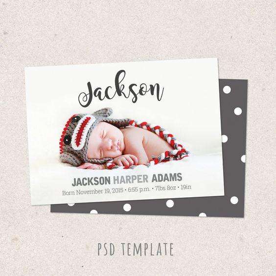 Birth announcement template card Digital baby boy baby girl – Baby Girl Birth Announcement Template