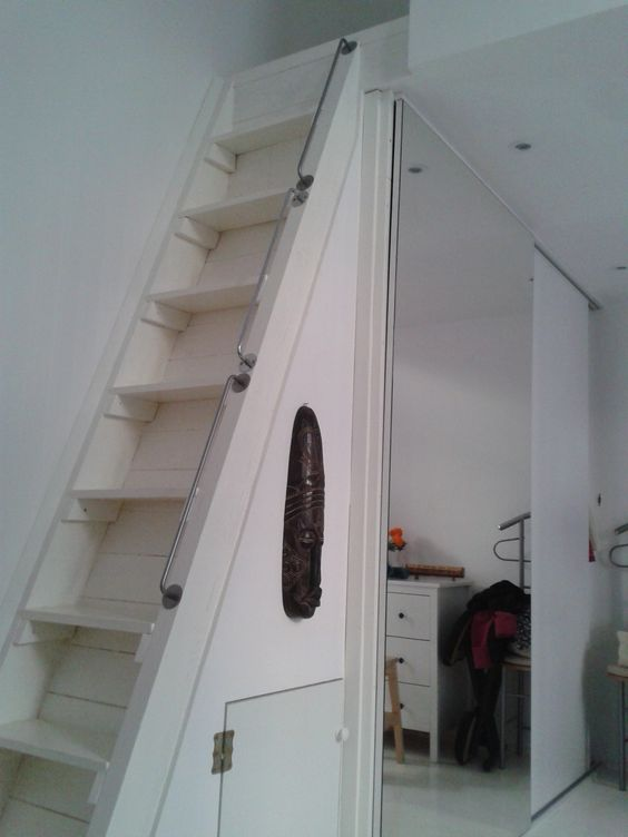 IKEA hack railing - 3 pieces of the 55 cm Ikea Bygel rail used for steep loft ladder/stairs.