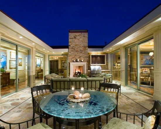 Pin By Jessica Williams On Sunken Courtyard House Plans U Shaped Houses Courtyard Design