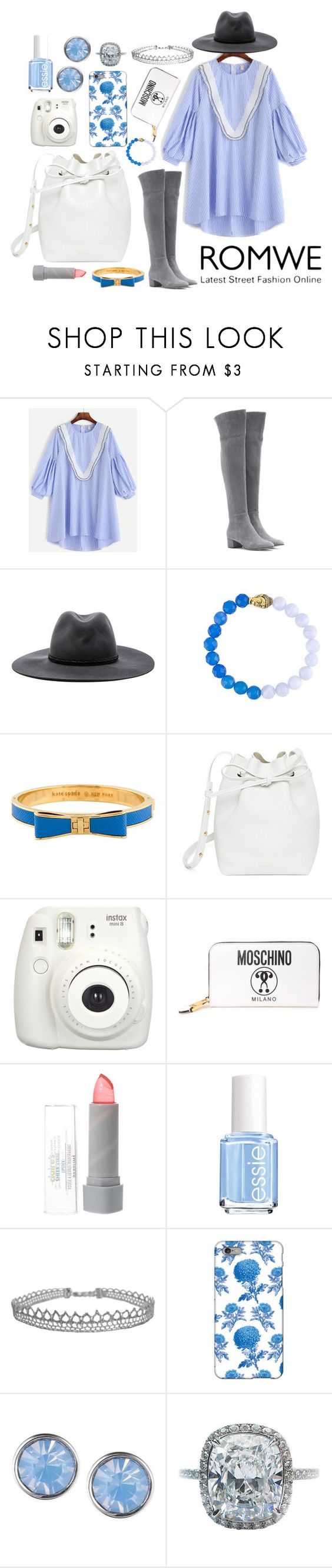 """romwe dress"" by roos-sparnaaij ❤ liked on Polyvore featuring Gianvito Rossi, rag & bone, Kate Spade, Mansur Gavriel, Fujifilm, Moschino, Glitter Pink, Essie, Humble Chic and Thornback & Peel"