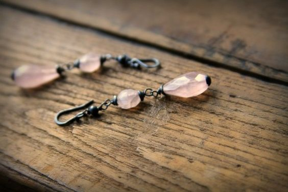 Rose faceted quartz Blackened silver by CindyHoo on Etsy