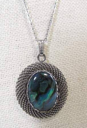 shopgoodwill.com: Beautiful Silver Toned Abalone Stone Necklace