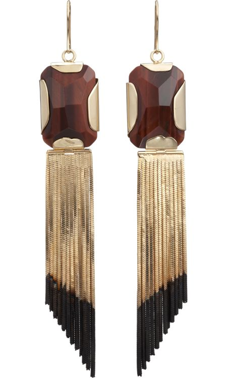 I LOVE THESE!!!!!!!!!! Iosselliani Tiger's Eye & Fringe Earrings
