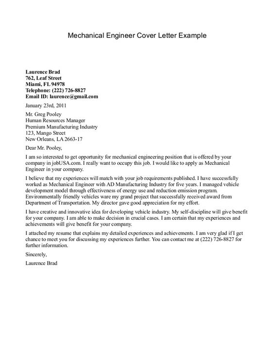 Mechanical Engineer Cover Letter Example -    jobresumesample - manufacturing resumes