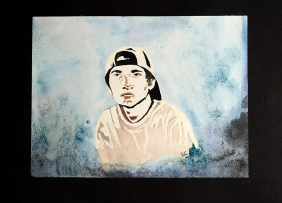 A Watercolor with salt of my son Logan.