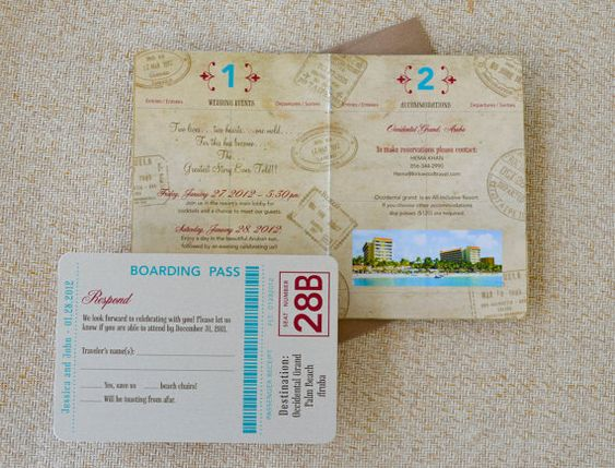 Aruba Passport Destination Wedding Invitation Palm by beyonddesign, $40.00