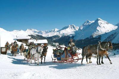 Schlittenfahrten Arosa, Graubünden, Schweiz