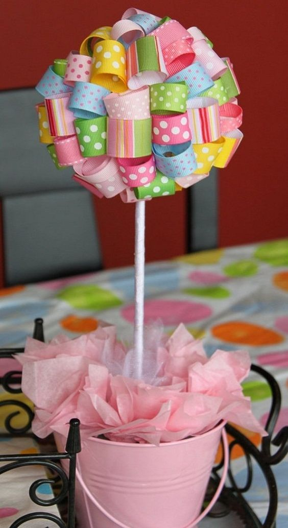 DIY Baby shower decoration ideas girls ribbon topiary pink color theme colorful ribbons