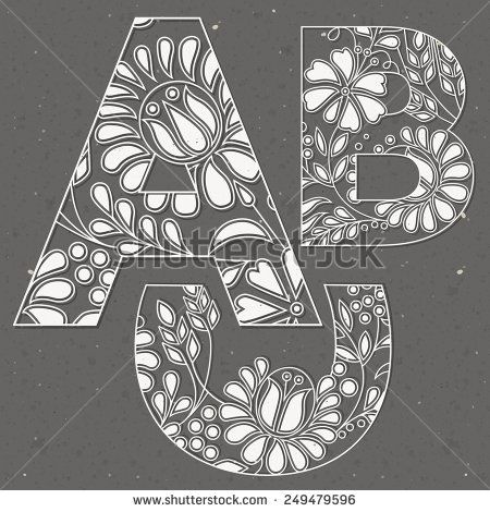 Vector Alphabet Collection. Vintage Flowers font constellation. Flowers decoration with alphabet. Standard characters. letters A B C.  - stock vector