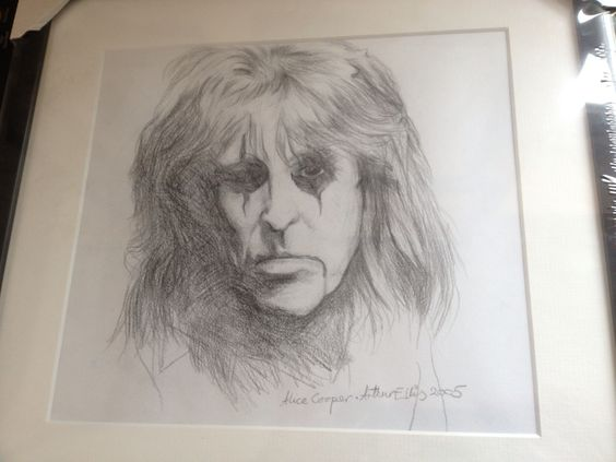 Alice Cooper pencil #drawing by Arthur Ellis before he went #blind - follow his FB page for update! www.forartssake.co.uk