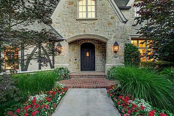 Sidewalk-scaping Inspiration~ stone surround roof around door with patio