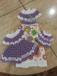 Crochet Easy Beautiful Dress Towel Topper Set Pattern By