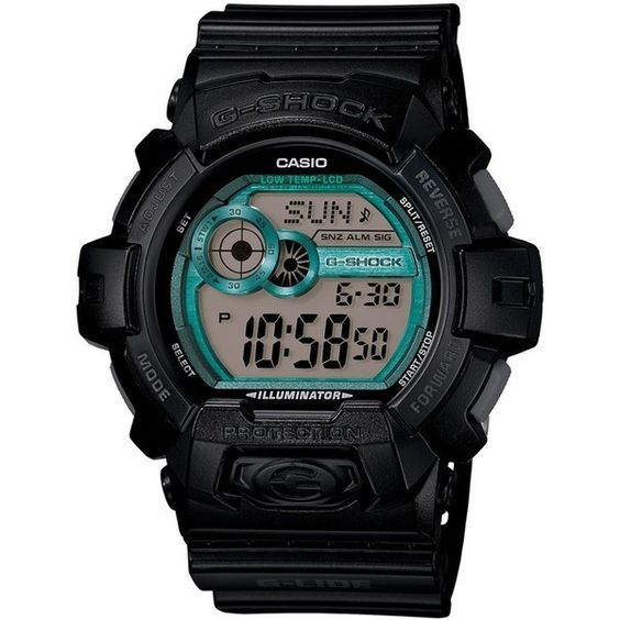 G-Shock 'Glide Color' Digital Watch, 55mm ($110) ❤ liked on Polyvore featuring jewelry, watches, black, digital watches, black watches, black jewelry, g-shock and g shock watches
