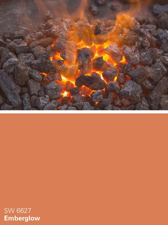 Sherwin-Williams orange paint color – Emberglow (SW 6627)