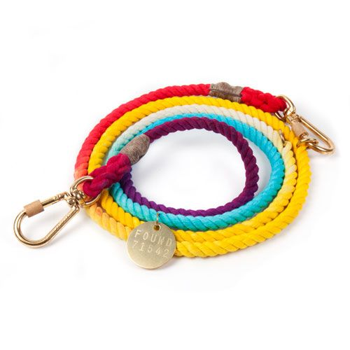 Rainbow Ombre Cotton Rope Dog Leash, Adjustable