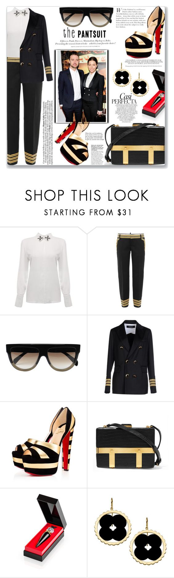 """Cockpit"" by mood-chic ❤ liked on Polyvore featuring Dsquared2, CÉLINE, Christian Louboutin, Britney Spears, Alexander McQueen, Asha by ADM, H&M, Whiteley, Anja and thepantsuit"