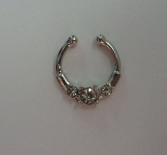Silver Fake septum ring, fake nose ring, fake septum ring, silver fake nose ring, clear crystal fake nose ring,crystal fake septum ring, S11