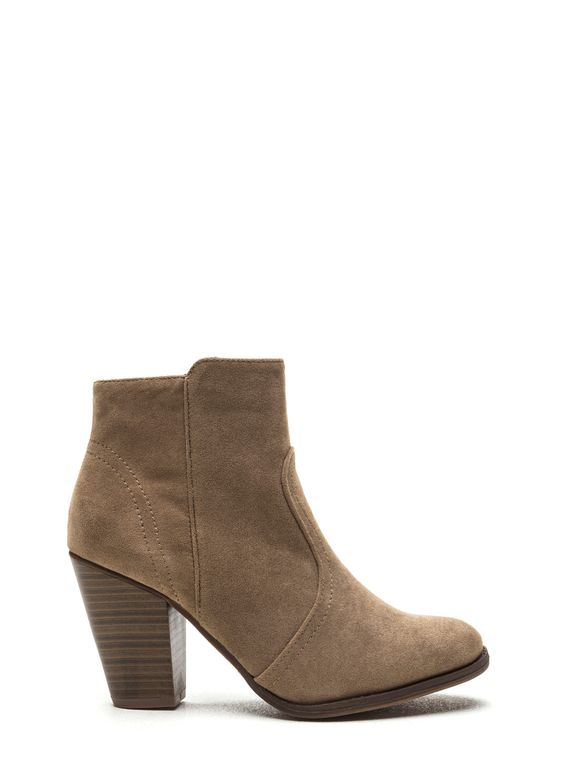 All Day All Day Faux Suede Booties BEIGE