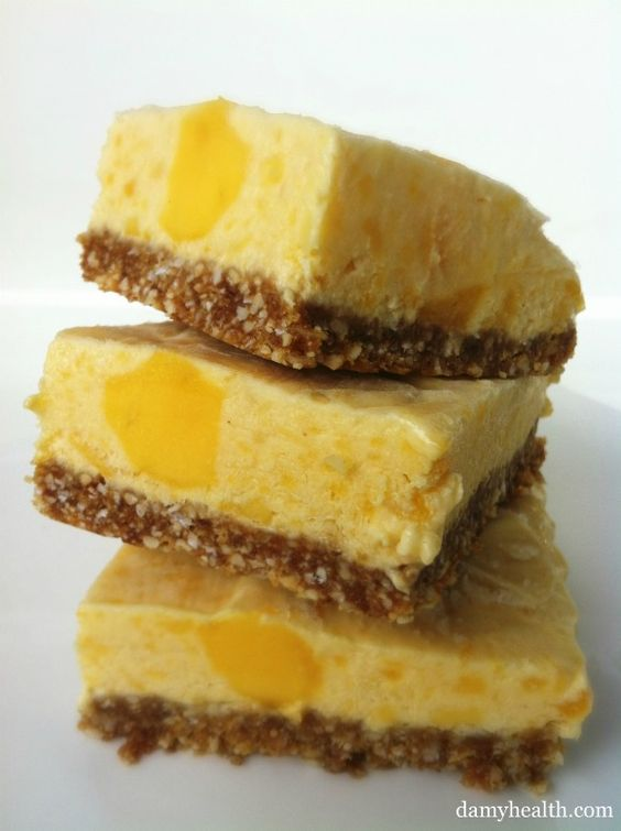 Skinny Mango Cheesecake Bites! This recipe is no-bake, gluten free, skinny, light, 5 minute prep and tropical fruit fun!