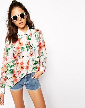 Glamorous - Chemise à fleurs et rayures style hawaïen