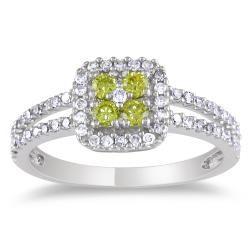 Miadora  14k White Gold 1/2ct Tdw Yellow And White Diamond Halo Ring (g-h, I1-i2)