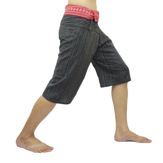 Black Thai Fisherman Pants Short 3/4 with Thai hand woven fabric on waist side, Wide Leg pants, Wrap pants, Unisex pants  $22.00 Free shipping